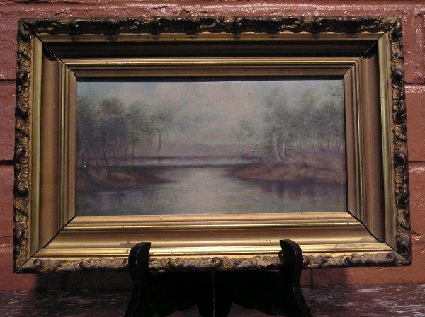 5: Early Oil on Board of a Lake Scene  800-80
