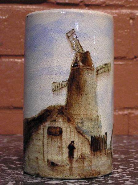 18: Windmill & Harbor Scene Pottery Vase  800-98