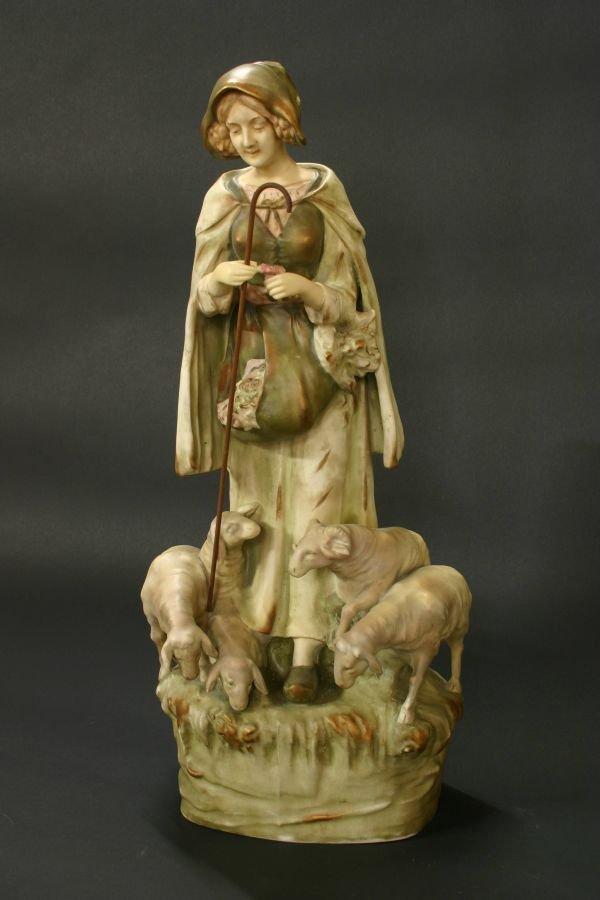 93: Amphora Austria Figure of Lady with Sheep
