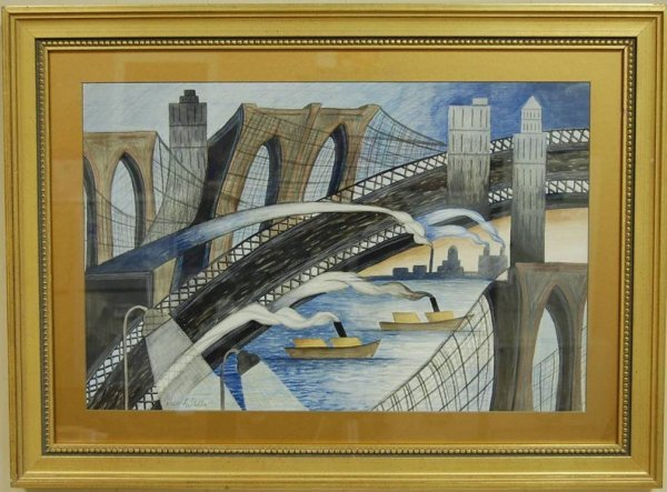 50: JOSEPH STELLA SIGNED BRIDGE SCENE