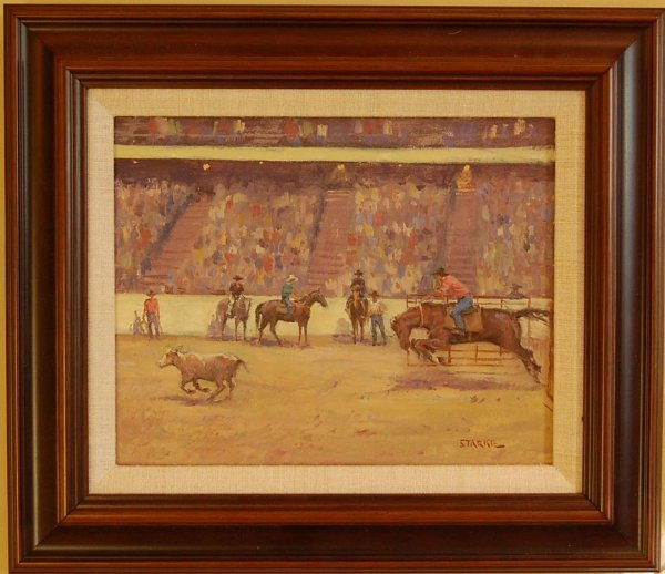 28: PHIL STARKE RODEO CALF ROPING PAINTING