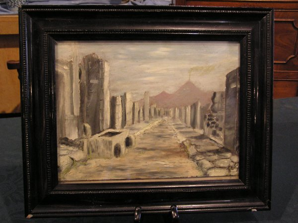 15: Unsigned Oil on Board of Ancient Ruins