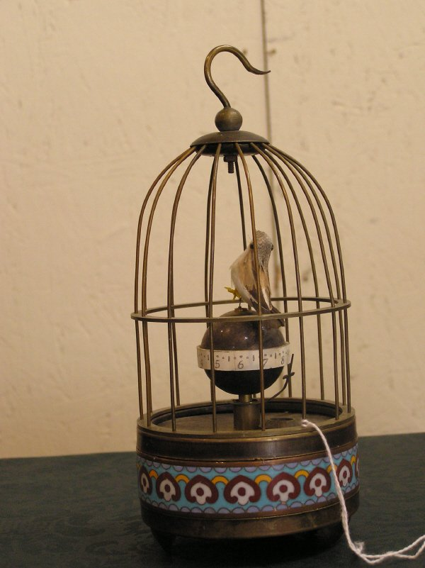 22: Bird in Cage Clock with Cloisonne Decoration