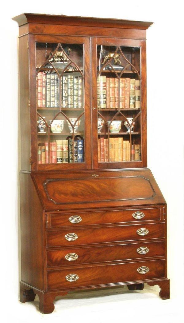 88: Slant Front Mahogany Bureau Bookcase