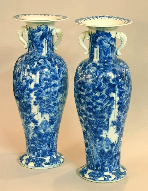 179: Pair of 19th Century Japanese Blue and White Vases