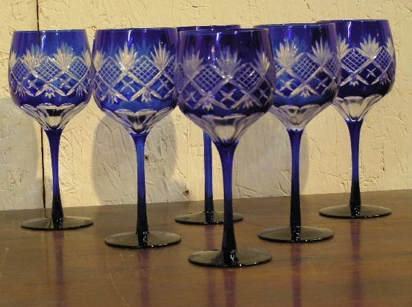 9: Set of 6 Contemporary Cut to Clear Goblets