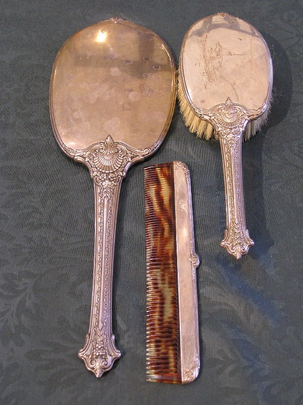 13: Sterling Silver Brush, Mirror & Comb Set