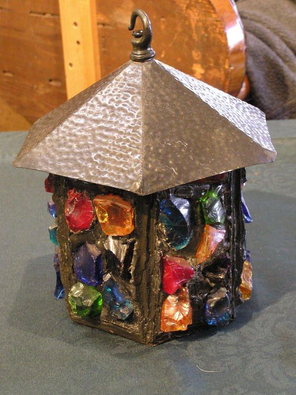 17: Arts & Crafts Style Chunk Jewel Hanging Light