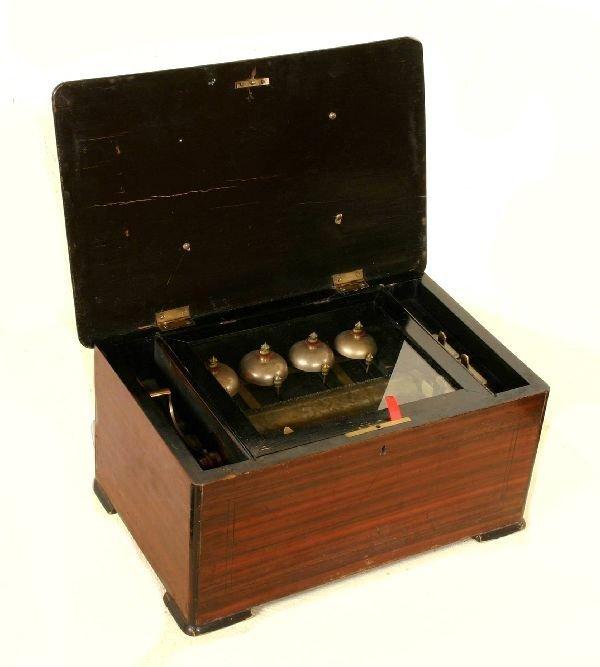 188: Inlaid Rosewood Swiss Barrel Music Box