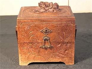Black Forest Floral Carved Cigar Music Box