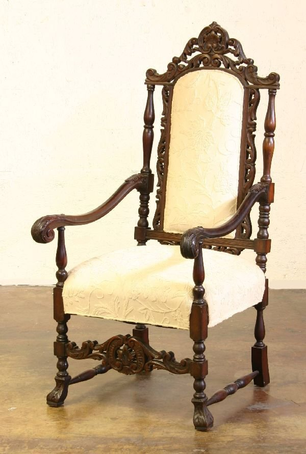 2: Pair of Carved Walnut Highback Chairs