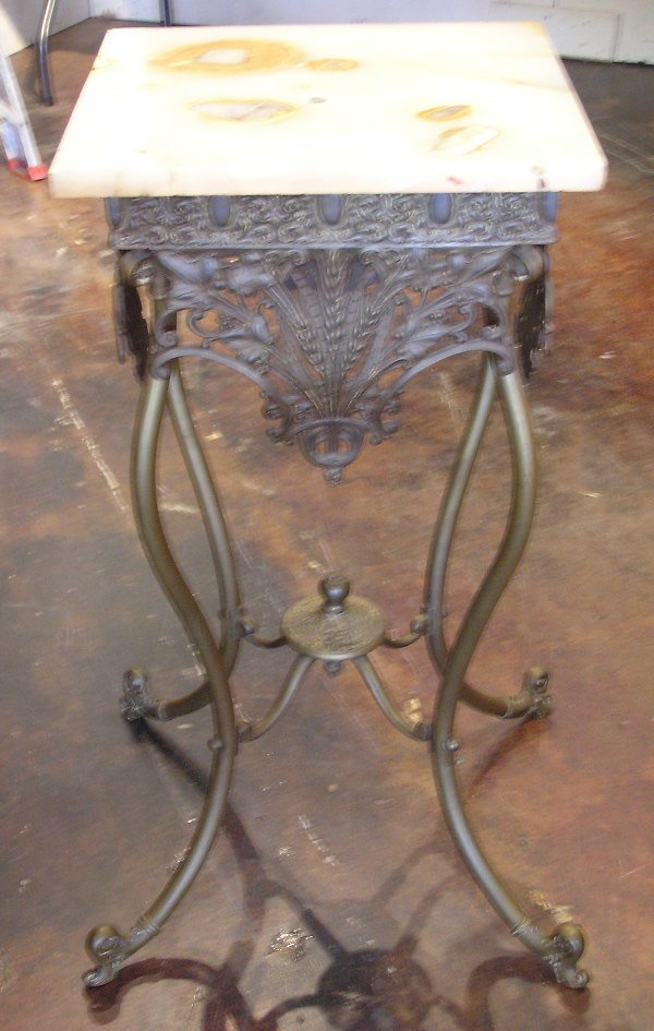 4: Bronze Parlor Table with Onyx Top