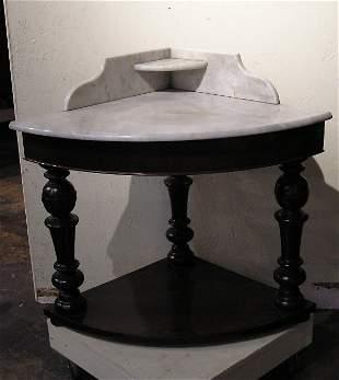 Victorian Marble Top Corner Washstand