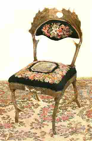 Stag Needlepoint Carved Sidechair