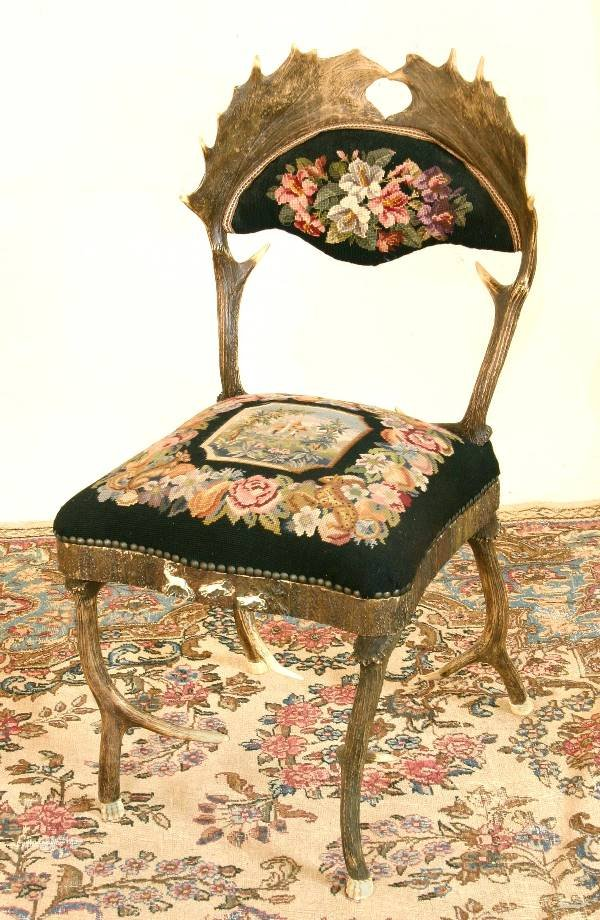 8: Stag Needlepoint Carved Sidechair