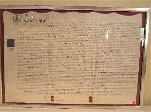 Original Framed Document for Indentured Servant