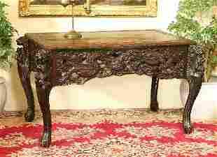 Carved Oriental 19th Century Dragon Desk