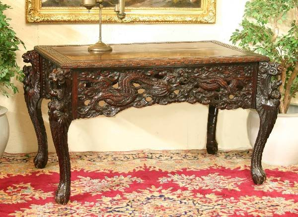 16: Carved Oriental 19th Century Dragon Desk