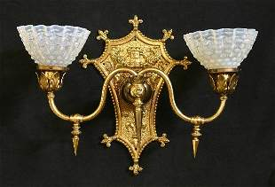 Bronze Wall Sconce with Lion and Castle Crest