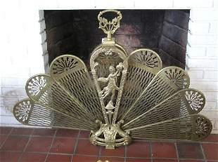 Brass Peacock Fan Style Fire Screen