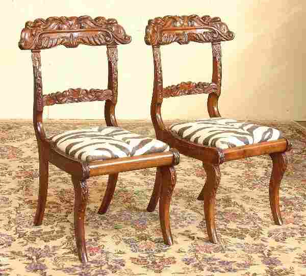 Pair of Anglo Indian Carved Mahogany Chairs