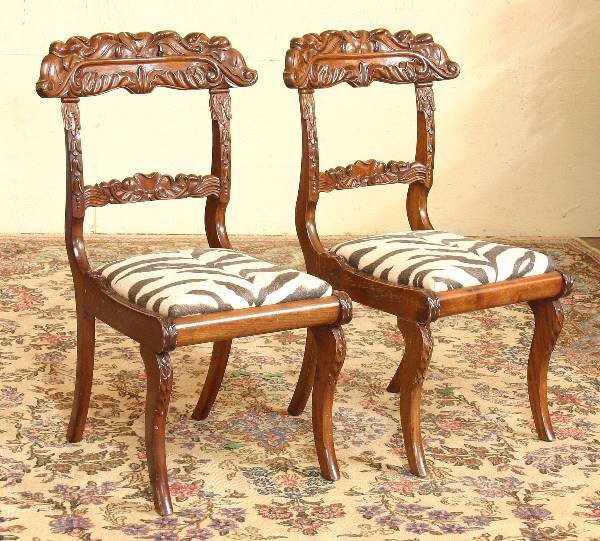 24: Pair of Anglo Indian Carved Mahogany Chairs