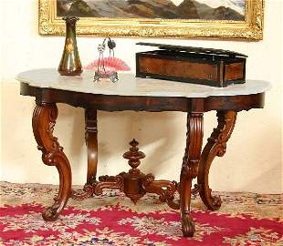 Victorian Marble Turtle Top Parlor Table