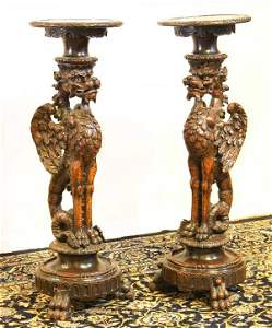 167: Pair of Carved Gryphon Torcheres