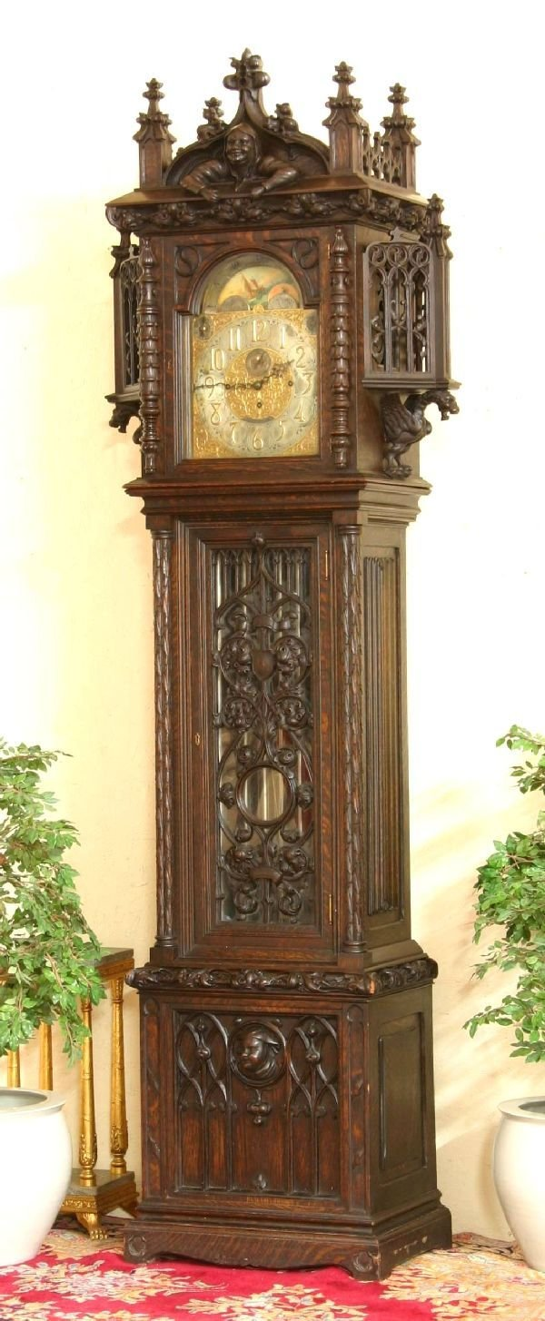 212: Gothic Oak Tiffany & Co. Grandfather Clock