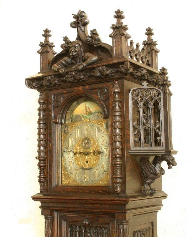 212: Gothic Oak Tiffany & Co. Grandfather Clock  - 2
