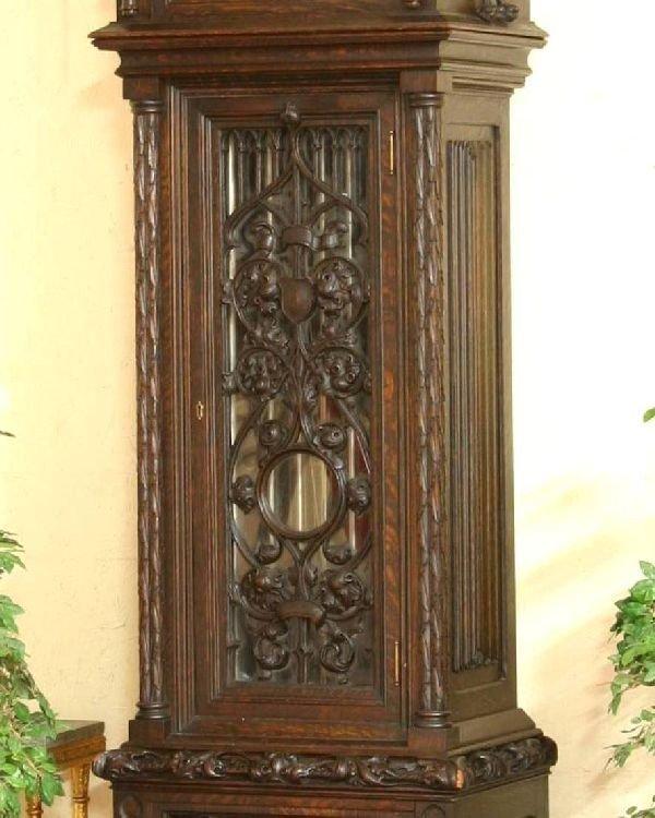 212: Gothic Oak Tiffany & Co. Grandfather Clock  - 3