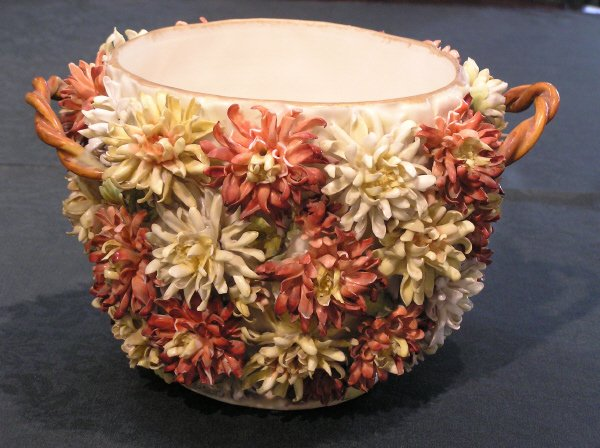 13: Floral Double Handle Pot Marked Dresden