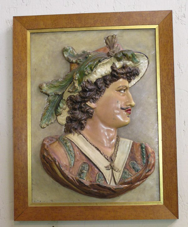 17: Pair of Hand Painted Spelter Relief Plaques
