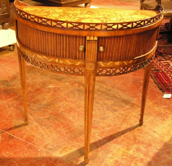 21: Marquetry Inlaid Demi Lune Commode