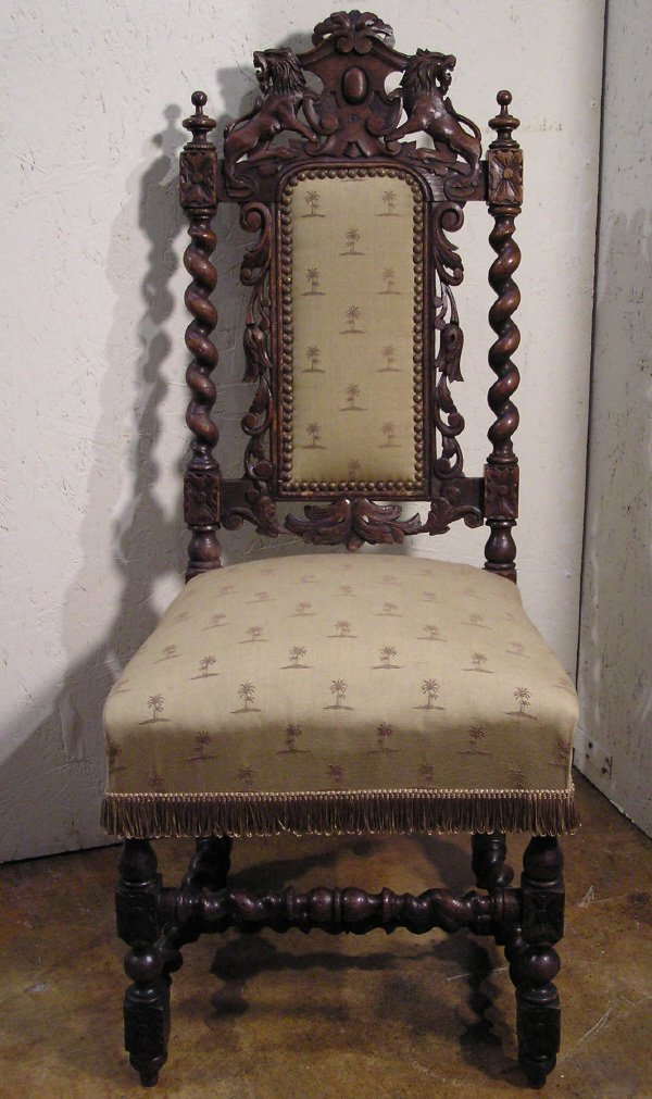 2: Carved English Chair with Standing Lions