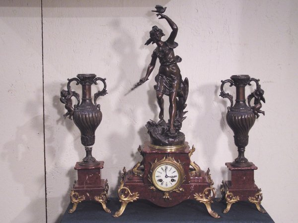 9: French Figural 3 Pc. Spelter Clock Set