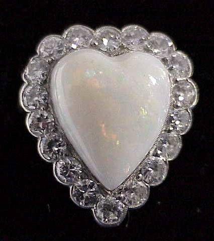 21: Heart Shaped Opal Ring with Diamonds in Platinum