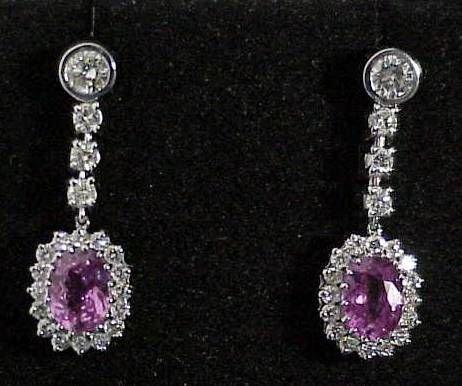 71: Pink Sapphire and Diamond Earrings