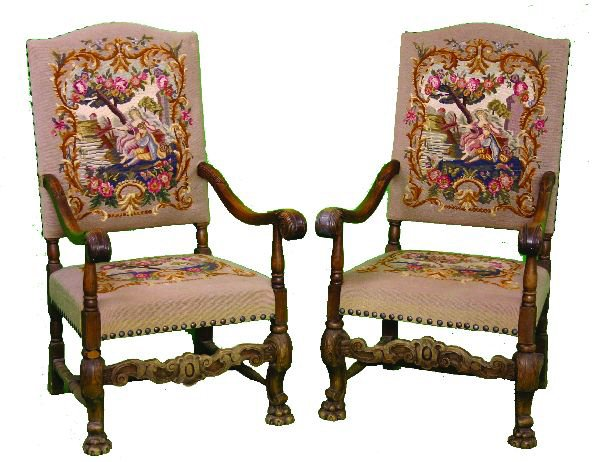 2: Pair of Needlepoint Arm Chairs