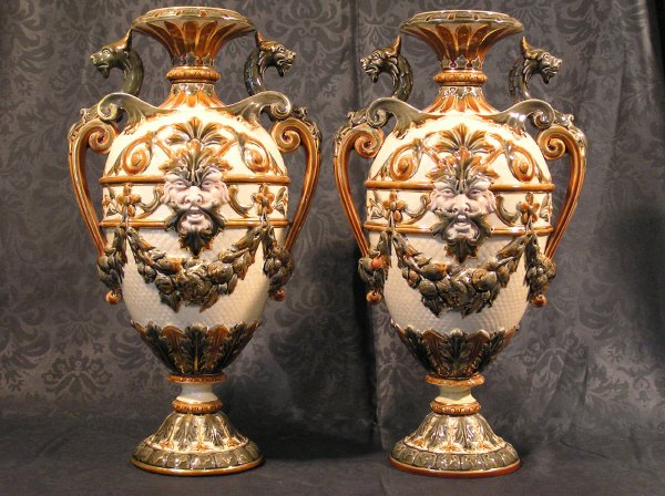 3: Pair of Majolica Gryphon Vases Signed Rorstrand