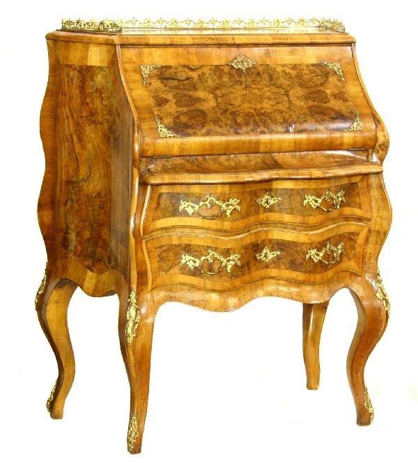 10: Venetian Burl Walnut Ladies Writing Desk