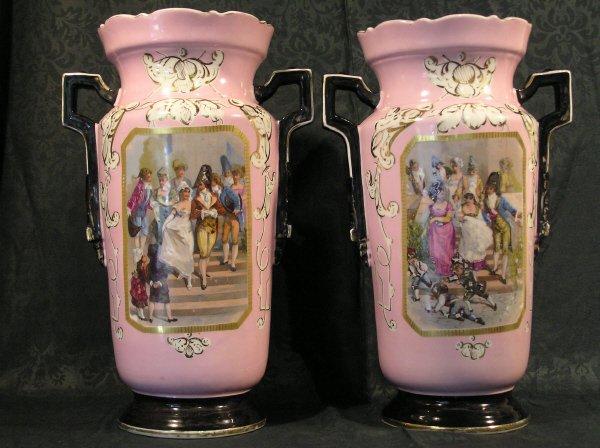 13: Pair of Old Paris Portrait Vases