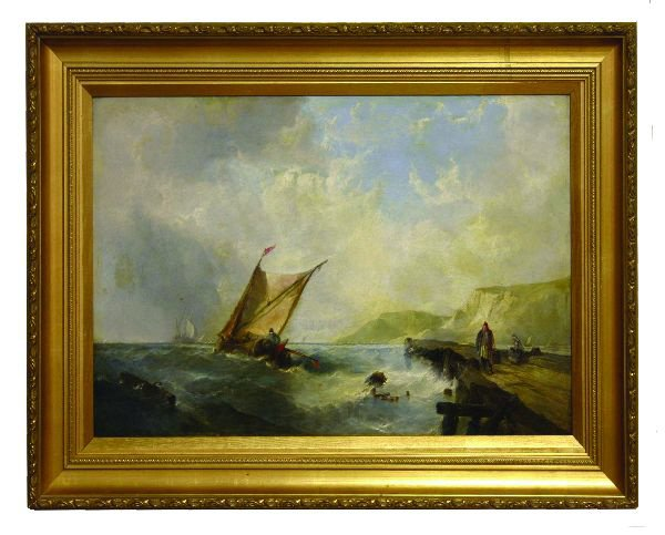 15: Oil on Canvas of a Maritime Scene