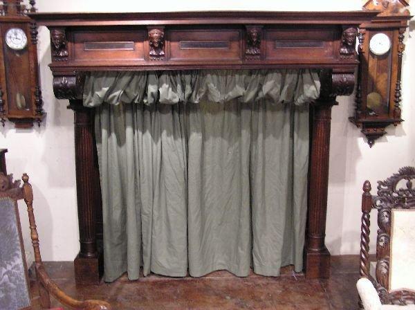 136: Large Oak Figural Fireplace Mantle