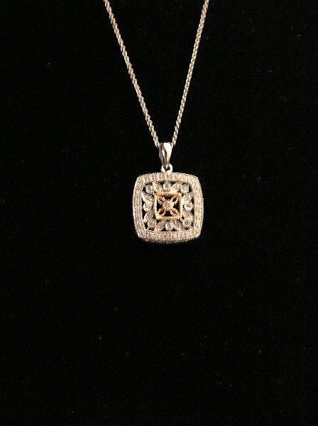 1: 14K White Gold and Rose Gold Diamond Pendant