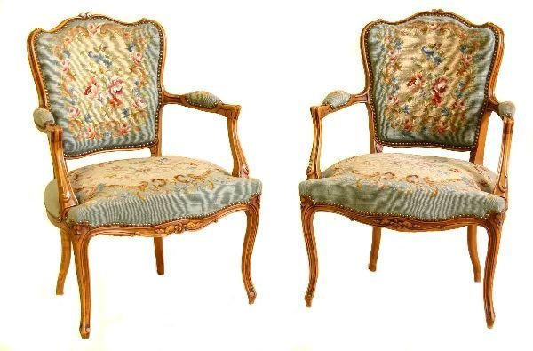 2: Pair of French Needlepoint Chairs