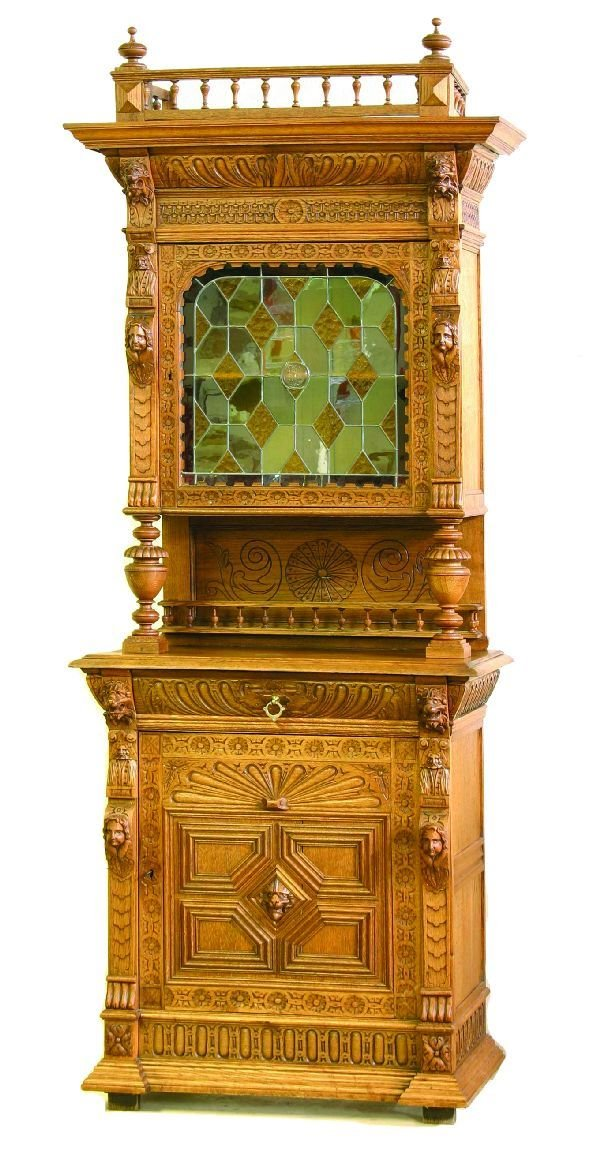 4: Carved Oak Cabinet with Leaded Glass Door