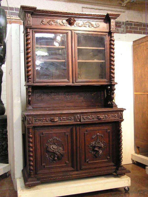 8: Oak Henry II Carved Cabinet