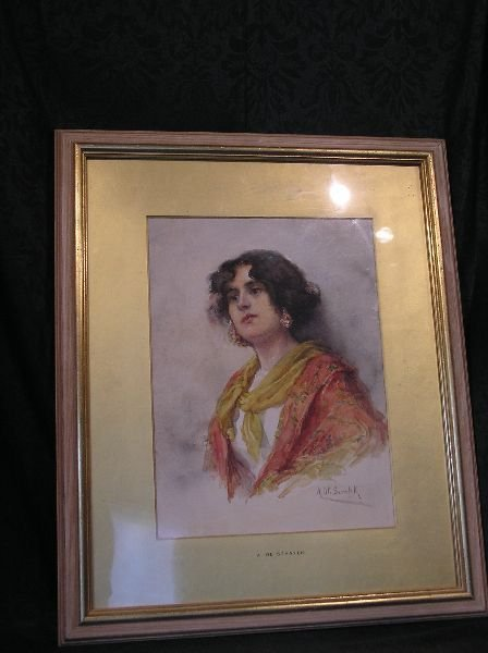 15: Artist Signed Watercolor of a Woman
