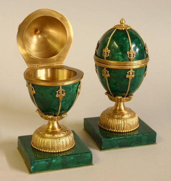 79: Pair of Russian Malachite Eggs